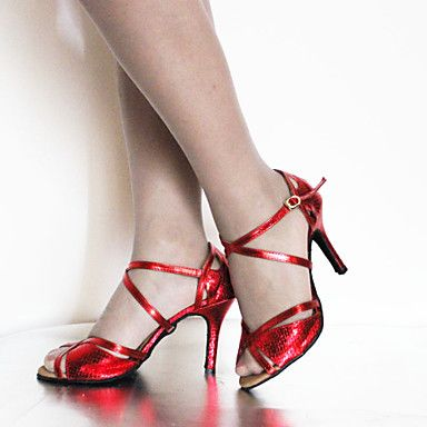 Customizable Women's Dance Shoes Latin/Dance Sneakers Suede/Leatherette Stiletto Heel Blue/Red/Gold – GBP £ 18.39