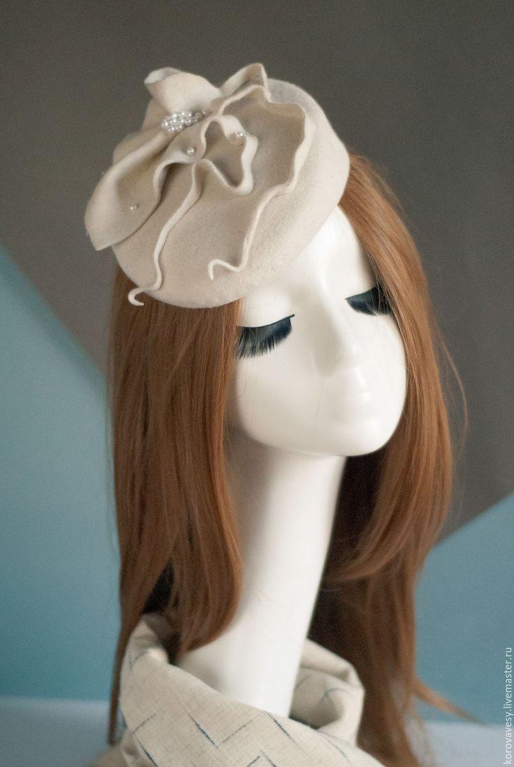 """Купить """"Там лилии цветут"""" - белый, кремовый, Декор, жемчуг, русалка, шляпка, маленькая шляпка"""