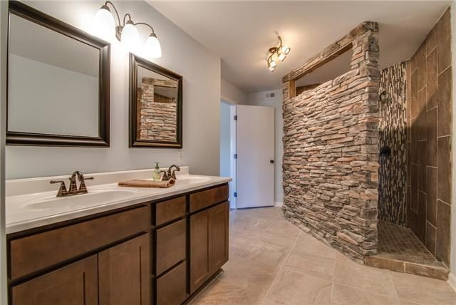 Beautiful Bathroom With Stone Walk In Shower Home