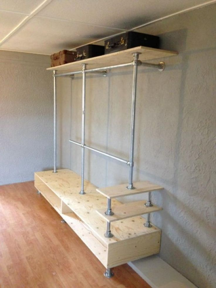 A taller bottom shelf could store boots, and a shorter top shelf could serve as a coat rack.