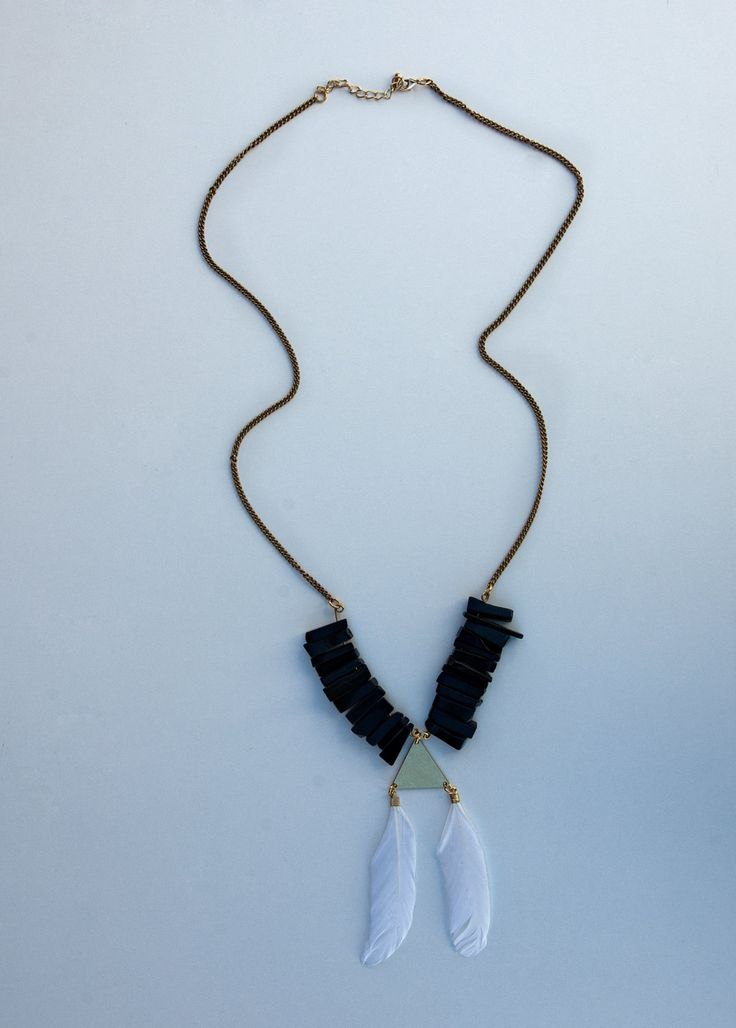Geometrical Statement Black Onyx Necklace, Christmas Gift For the Gypsy Lover by Lycidasjewelry on Etsy