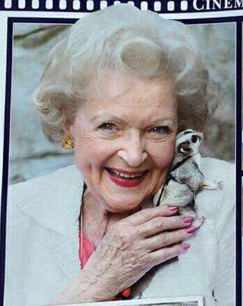 Betty White with a sugar glider!