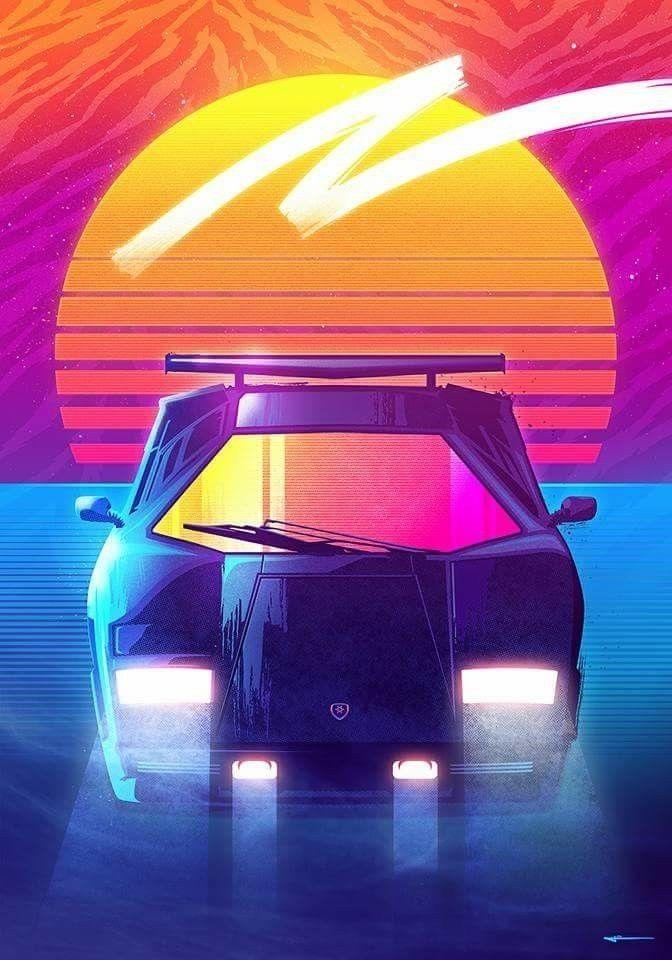 Exotic Car Wallpaper Iphone Lamborghini Countach Retro Futurism Retro Waves Synthwave