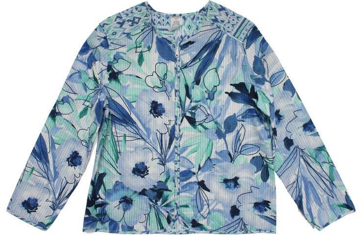 Alfred Dunner Petite St. Maarten Floral Jacket 6 Blue/multi. Long sleeve. Zip up front. 100% Polyester. Reversible.