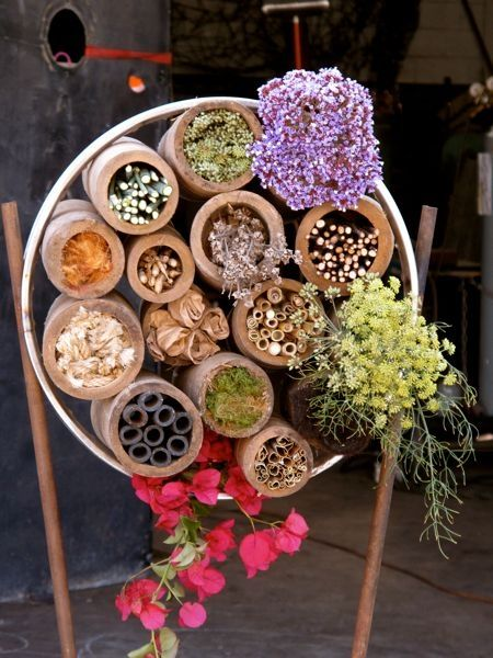 Creating habitat for insects is one of the easiest ways of supporting our feathered friends on their migration journey or in raising young. Design by Kevin Smith, via Urban Hedgerow.: Ideas, Urban Hedgerow, Benefici Insects, Mason Bees, Happy Hedgerow, Gardens, Insects Hotels, Insects Habitats, Bugs Hotels