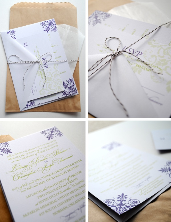 green & purple wedding invitations