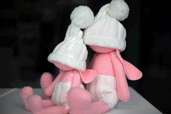 Sugar  Bunny. Big crochet bunny. Crochet toy newborn gift.