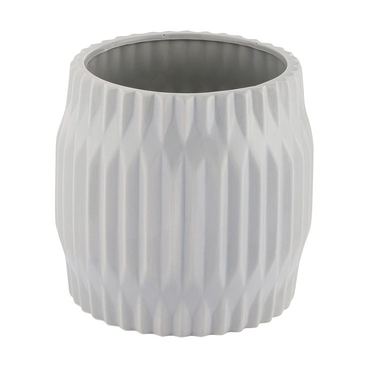 Fluted Pot - Light Grey | Kmart