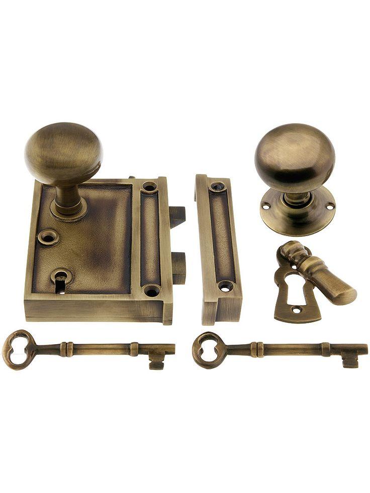 solid brass vertical rim lock u0026 knobs in finish - Antique Door Hardware
