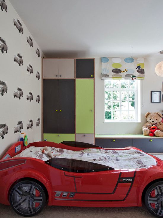 Bedroom Design, Charming Boys Room Paint Colors Also Red Car Shape Bed Also Wall…