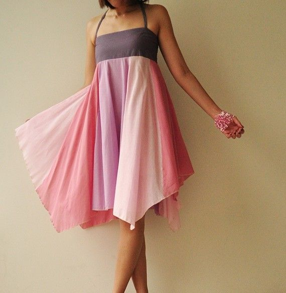 Parapluie...Robe coton ton rose