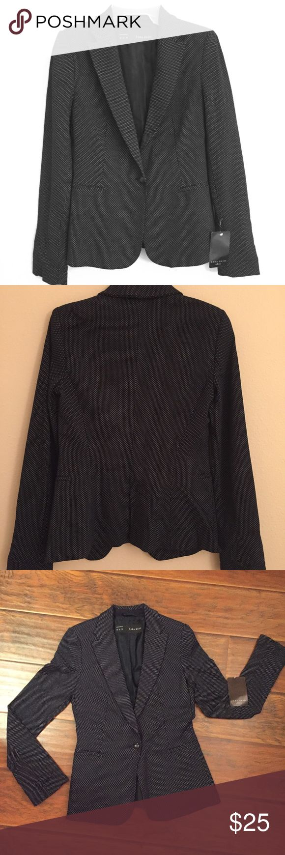 Zara Basic Navy Blazer Jacket Brand new with tag! Basic navy blazer with tiny dots in size XS. Versatile staple piece for wardrobe, can be dressed up or down. Zara Jackets & Coats Blazers