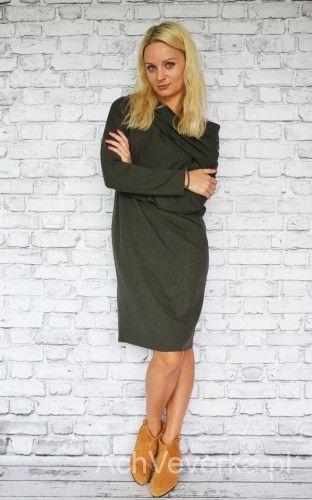 Sukienka z kominem, khaki by Taffi. AchVeverka.pl  #achveverka #sukienka #khaki #komin #angorka #taffi