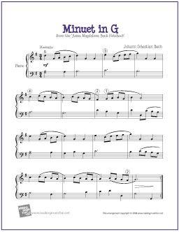 Minuet in G (Bach) | Intermediate Piano Solo - http://makingmusicfun.net/htm/f_printit_free_printable_sheet_music/minuet-in-g-level-five-piano-solo.htm
