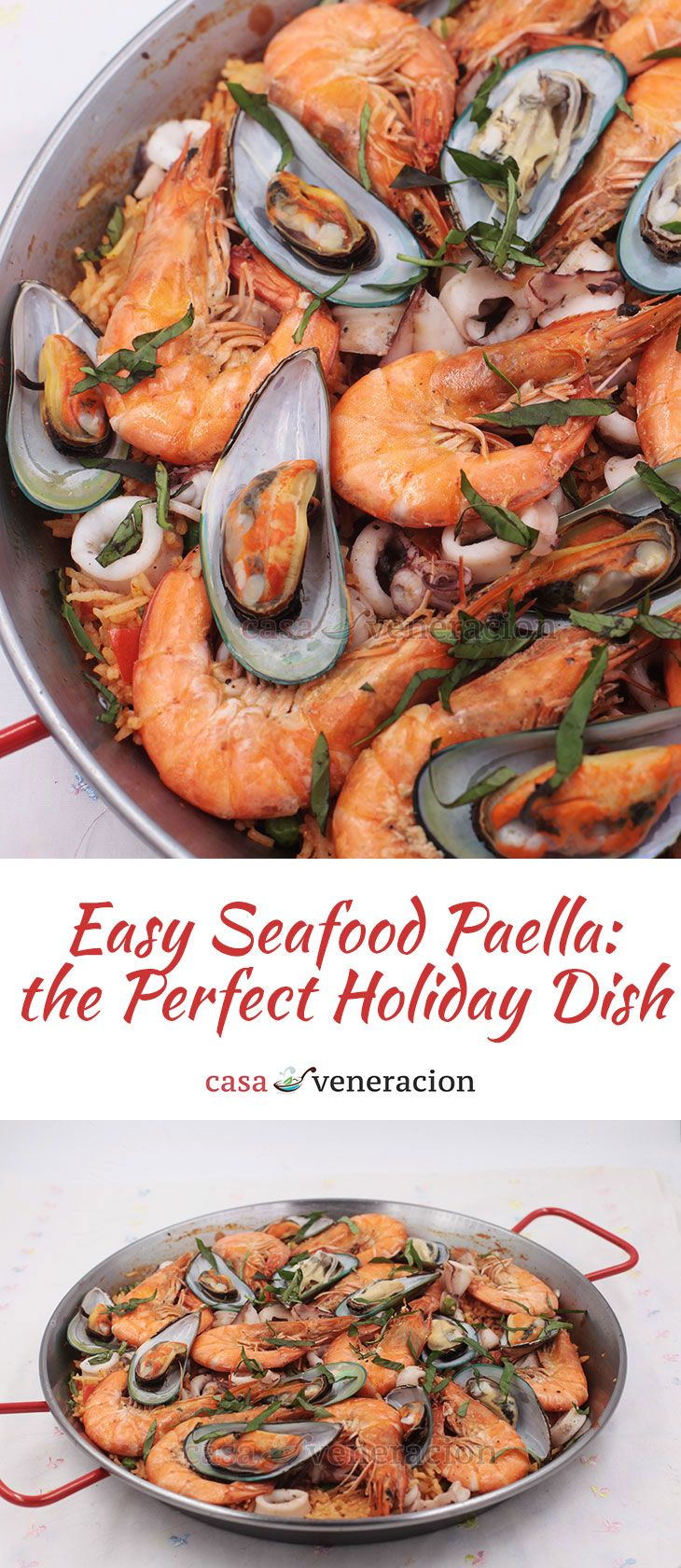 For rice-loving Filipino-Americans who like to pair their Thanksgiving turkey with non-traditional side dishes, here's a non-traditional easy seafood paella recipe. via @casaveneracion