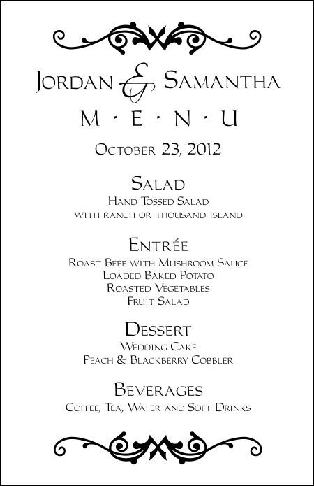Wedding menu templates!!  FREE!!