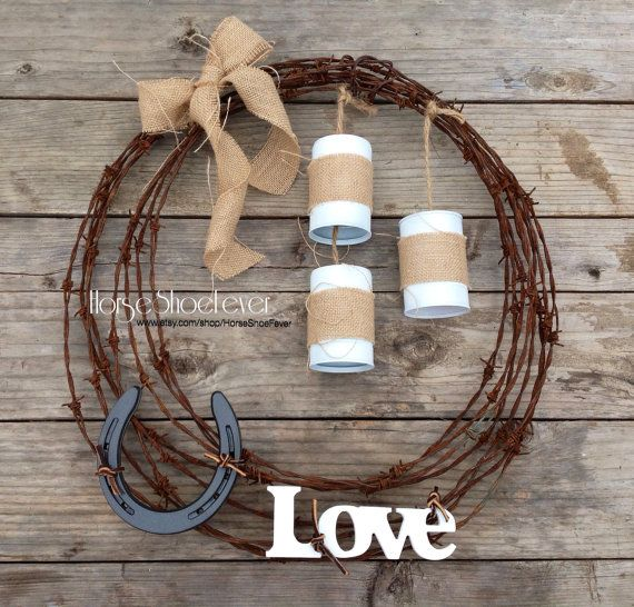 Lucky in Love. Just Married. Horseshoe Barbwire Wreath by HorseShoeFever. Western Home Decor. Wedding, Rustic, Vintage, Outdoor, Any Room, Love, Country, Western, Barn, Stables, Horseshoe Art, Burlap, Cowgirl, Cowboy, Barbed Wire, Decorations, Fall, Housewarming Gift, Ranch, Cabin, Her, reclaimed CA fencing, Horses, Horseshoes,