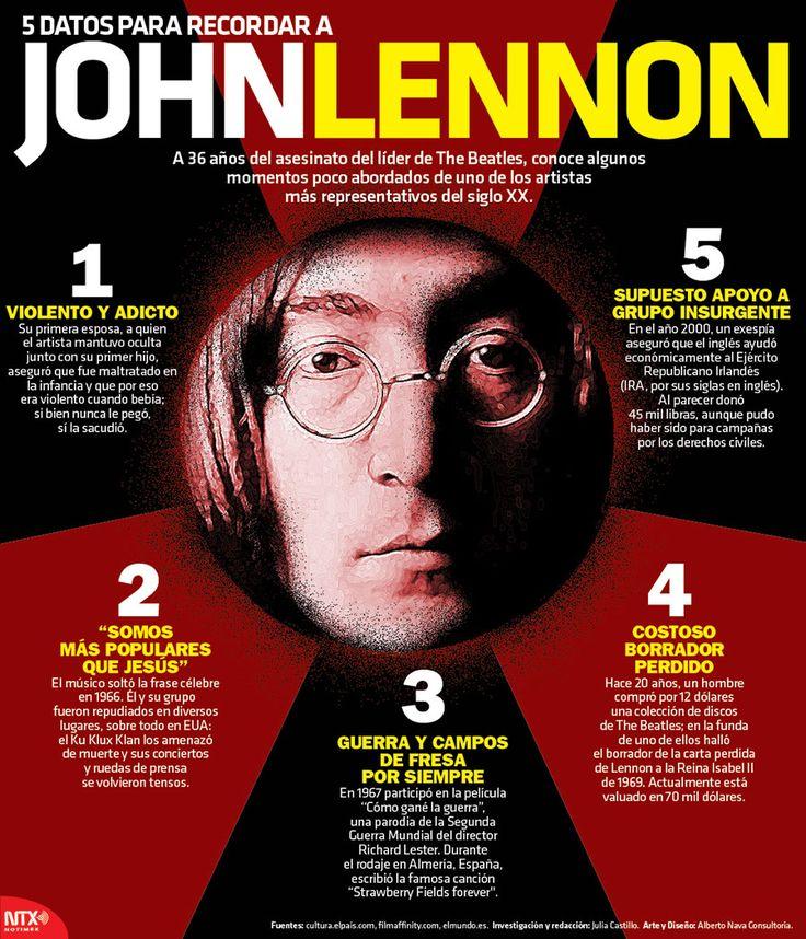 5 datos para recordar a John Lennon, conoce aquí algunos de sus momentos más representativos. #Infographic