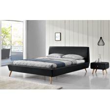 Fournier Decoration - Happy Lit Pu 140X190 Cm Pu Noir - pas cher Achat / Vente Structures de lit - RueDuCommerce