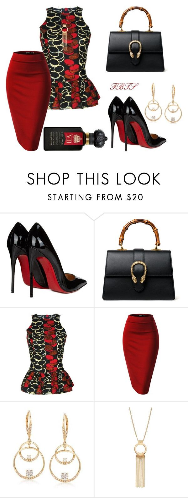 """""""Who, What, When, Where, & Why?"""" by flybeyondtheskies ❤ liked on Polyvore featuring Christian Louboutin, Gucci, FAIR+true, Ross-Simons and Clive Christian"""