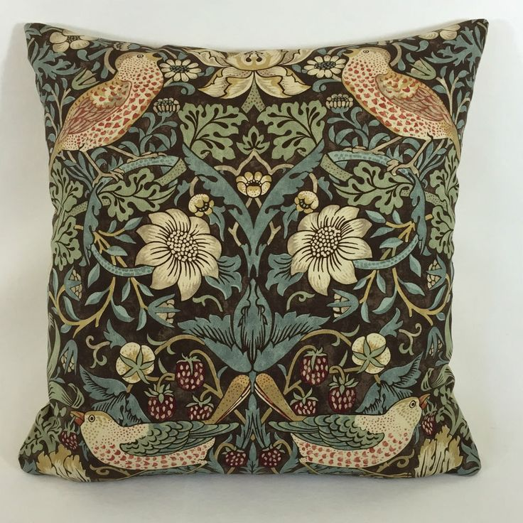 William Morris Strawberry Thief Chocolate Slate Cushion Cover 16  x 16