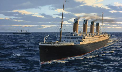 """Painting by Ken Marschall ~ """"In their only encounter at sea, the Titanic passes her sister ship, the Olympic, off Portland on the evening of April 3, 1912. En route from Belfast following her trials, the Titanic would dock in Southhampton that midnight and begin preparations for her maiden voyage."""" from Titanic: An Illustrated History"""