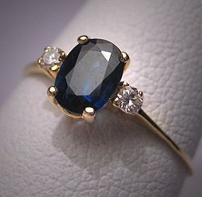 Vintage Sapphire Diamond Wedding Ring Estate Engagement $495-- basically the perfect blue sapphire ring!