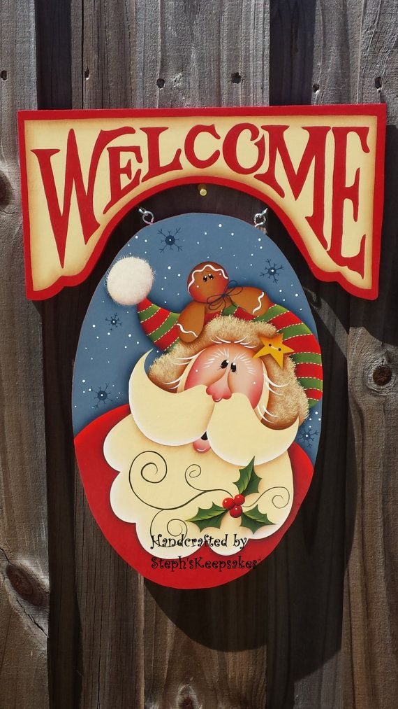 Santa and Gingerbread Welcome Signwooden by stephskeepsakes