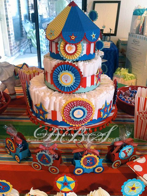 #Carnival Party, #BabyShower, DIY Diaper Cake www.stampingmoon.com