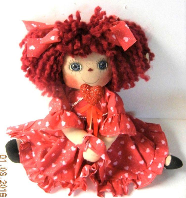 "Primitive Raggedy Ann VALENTINE Doll ""NIKKI"" SPARKLING VALENTINE DRESS  HEARTS #NaivePrimitive #Patricia"