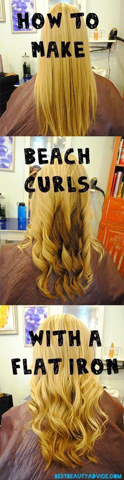 simple beach curls Hos to make beach curls with a flat iron.