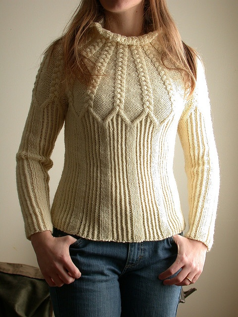 cabled yoke sweater front by technolope, via Flickr