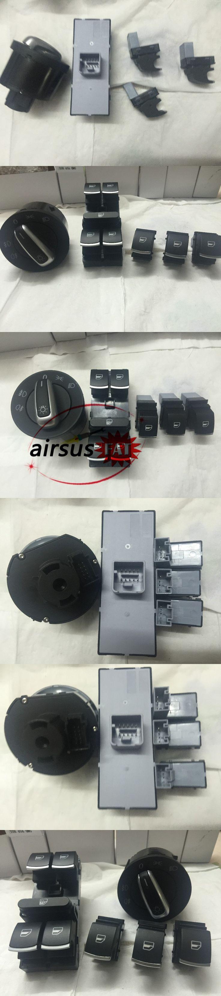 FAT ship chrome auto headlight switch+ master & single window switch for volkswagen vw cc tiguan passat b6 golf 5 6 jetta mk5
