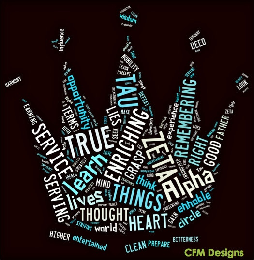words from the creed arranged into the crown.  cute tshirt idea
