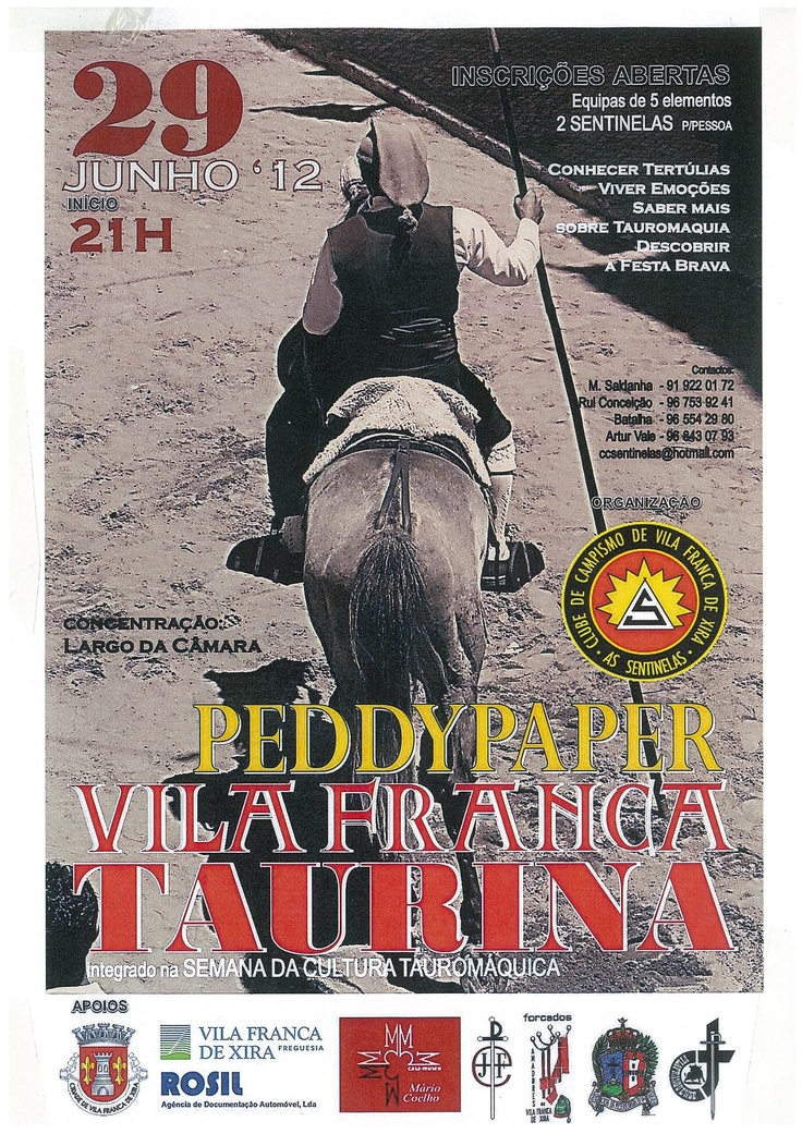 """4º Peddy Paper Taurino terá lugar na 6ª Feira dia 29 de Junho, com concentração no Largo da Câmara pelas 20h45.  Organização: Clube de Campismo """"As Sentinelas"""""""