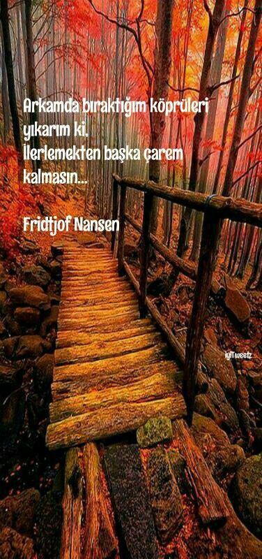 Arkamda bıraktığım köprüleri yıkarım ki, ilerlemekten başka çarem kalmasın. Fridtjof Nansen