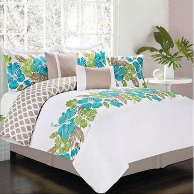 Hawaiian Island Hibiscus Tropical Queen Comforter Set 7
