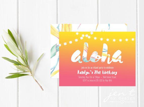 Aloha ! Ces Invitations Tropical lumineux et coloré sont parfaites pour le coup denvoi une partie de vos tenues estivales !  Ils sont idéal pour un