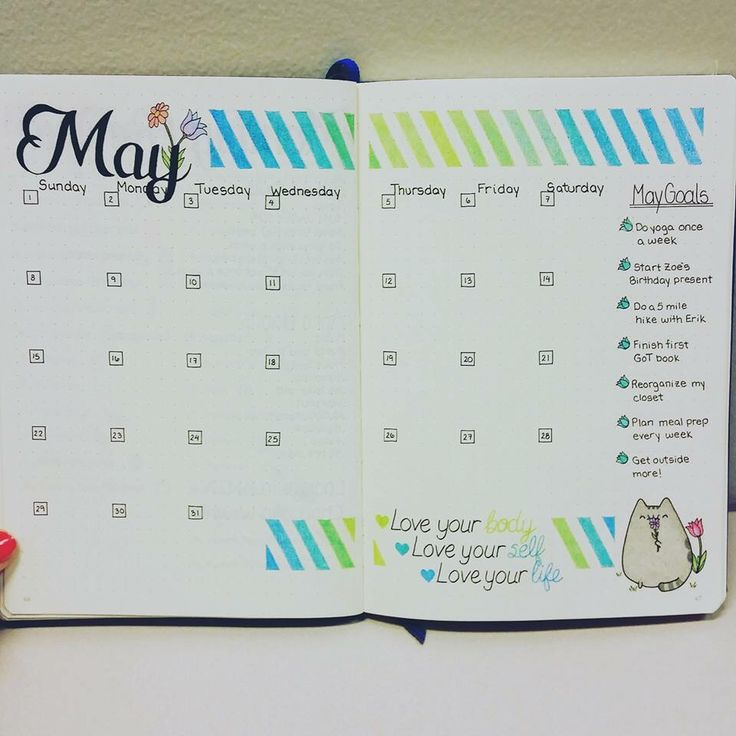 Layout for monthly bullet journal