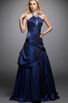 Vestido de noche vendimia azul medianoche Delgado Espalda Descubierta