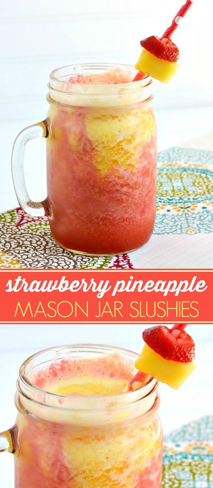 Summer Strawberry Pineapple Mason Jar Slushy Recipe