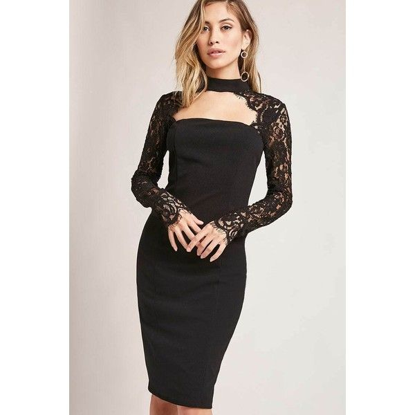 Forever21 Choker-Neck Bodycon Dress ($48) ❤ liked on Polyvore featuring dresses, black, cut out sleeve dress, bodycon cocktail dresses, cut out cocktail dresses, forever 21 dresses and long dresses