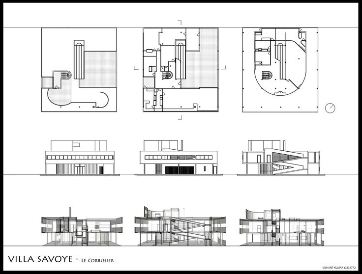 Exceptional Elevations And Plans Of And Sections Through The Villa Savoye, Poissy      Le Corbusier