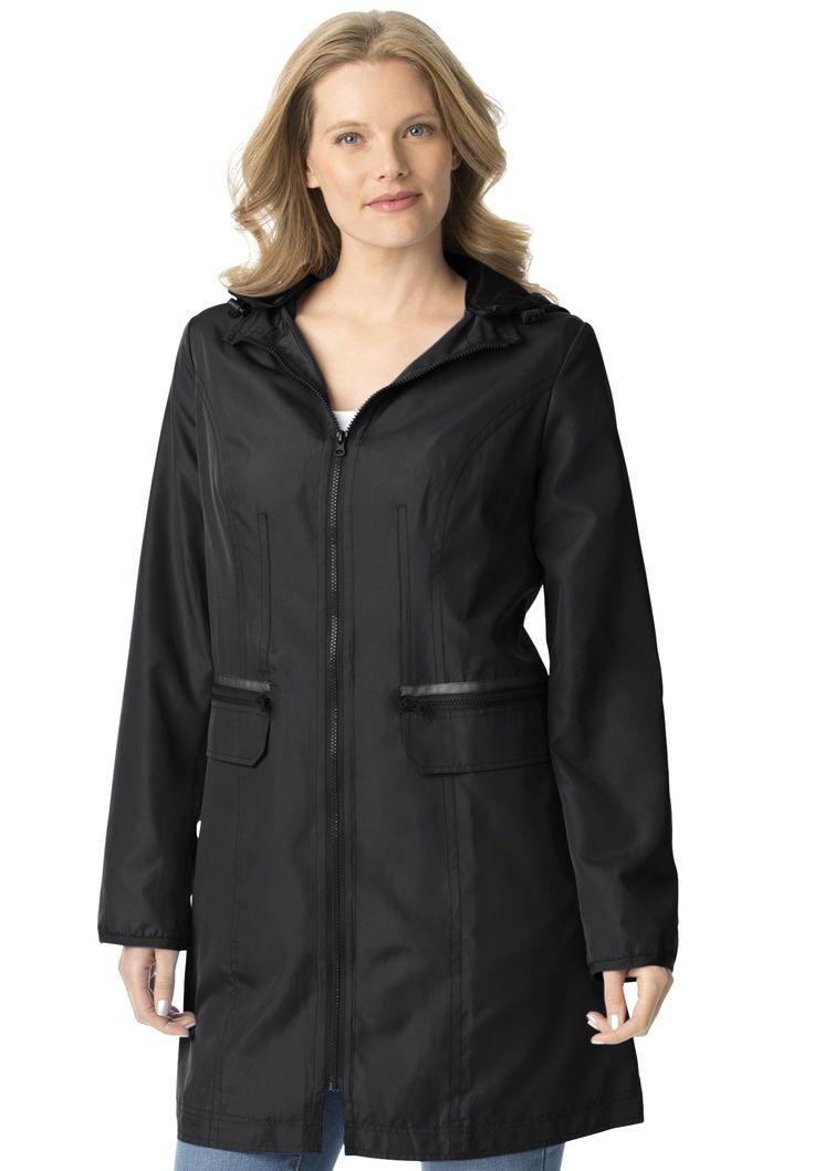 Plus Size Zip-front packable rain jacket