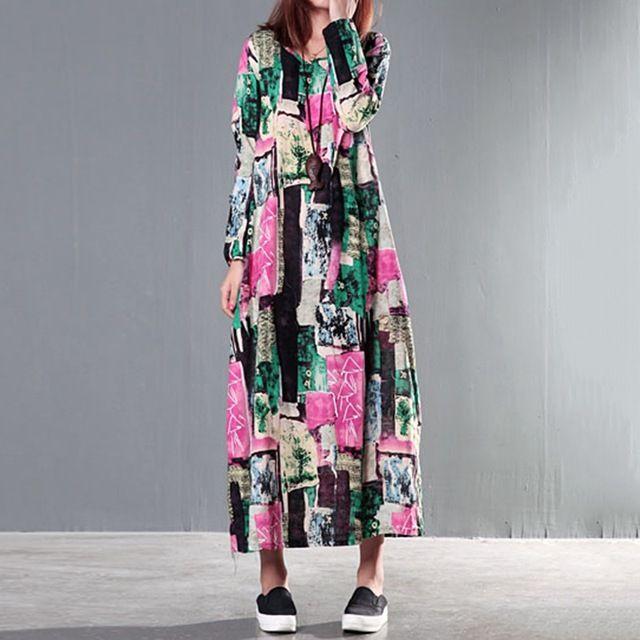 Top Sale Pregnant Woman Dress Floral Full Length Maternity Clothes Loose Autumn Vestidos Cotton Linen Dress Asia Size M-2XL