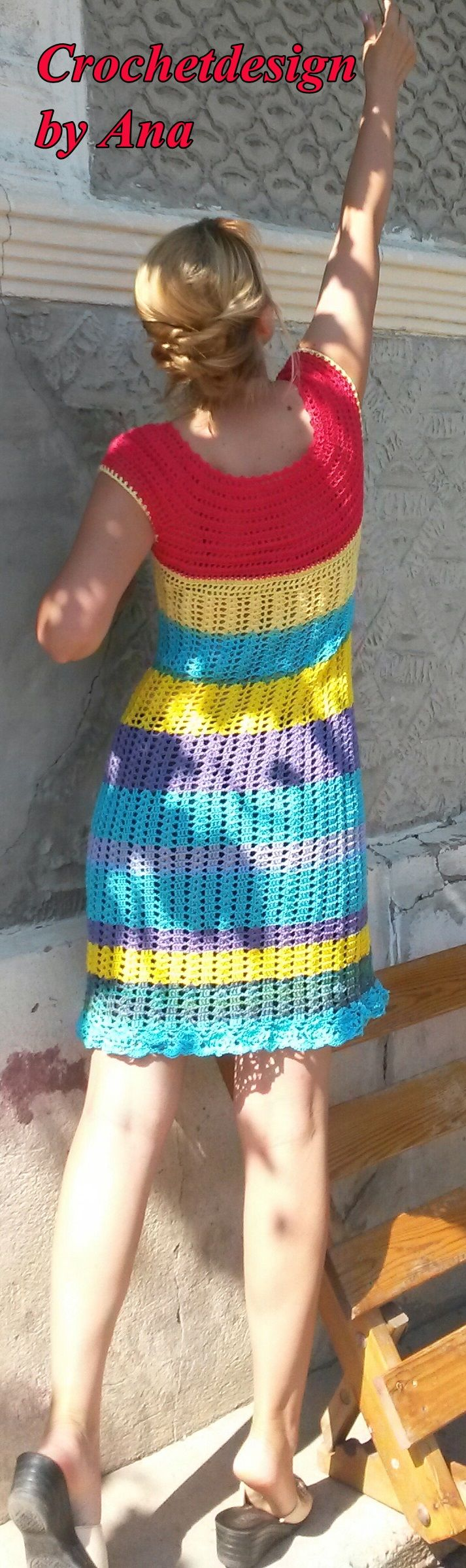 Crochet summer colorful dress