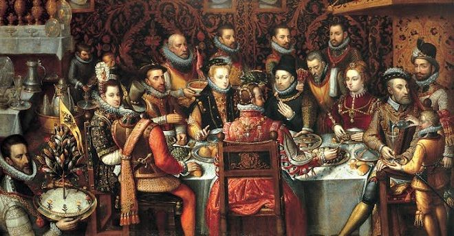King Phillip II of Spain banqueting with his family and courtiers (Alonso Sanchez Coello - The Royal Feast). 1596. National Museum in Warsaw.