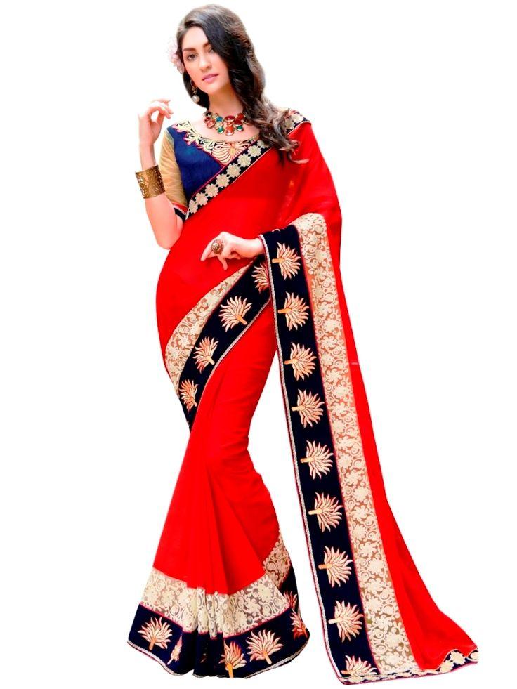 Indian Women Chiffon Red Saree