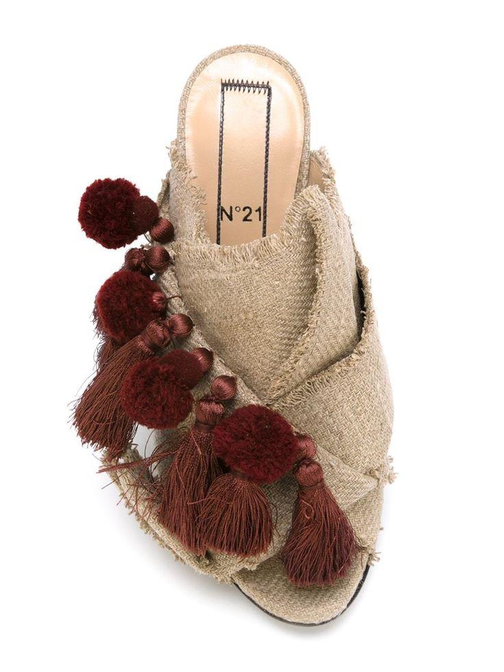 ポンポン&タッセル ミュール   レディース - 靴 - サンダル(ヒール有り)   海外通販ならLASO(ラソ)