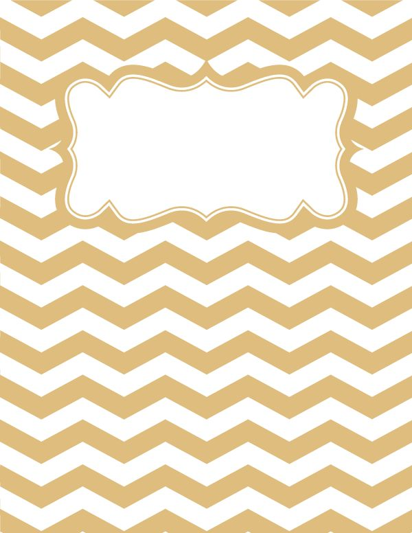 Free printable gold and white chevron binder cover template. Download the cover in JPG or PDF format at http://bindercovers.net/download/gold-and-white-chevron-binder-cover/